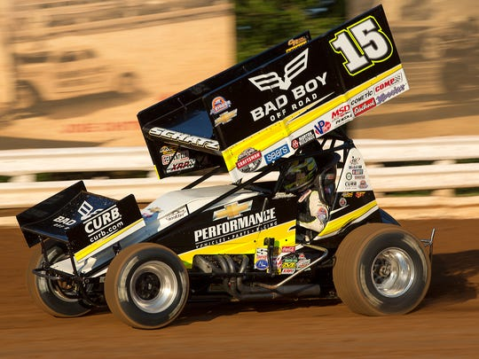 Donny Schatz heads out of turn No. 2 during his time trials.  Williams Grove Speedway host the Champion Racing Oil Summer Nationals Sanctioned by World of Outlaws on Saturday, July 23, 2016.