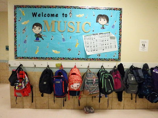 Backpacks outside the music room at Vista del Futuro