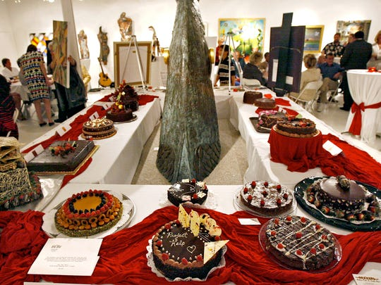Edible works of art are on display during the 11th annual Chocolate Extravaganza held at the Longstreth-Goldberg Gallery in Naples. The event was a fundraiser for the Project Help Crisis Center featuring a silent and live auction of chocolate cakes creating by area chefs.