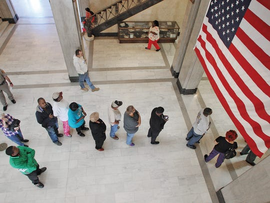Union County residents wait in line to cast their vote