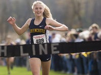 Greencastle-Antrim's Taryn Parks crosses the finish line at the District 3-AA girls' cross country championships at Big Spring High School in West Pennsboro Township, Saturday, October 29, 2016.