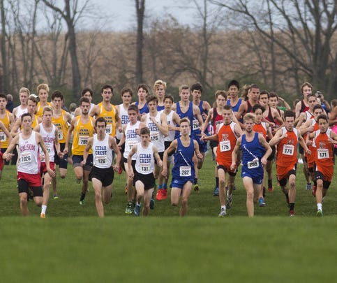Runners compete in the District 3-AAA boys' cross country championships at Big Spring High School in West Pennsboro Township, Saturday, October 29, 2016.