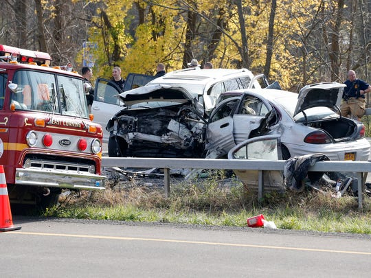 Police investigate a fatal car crash on State Route 352 in Corning on Nov. 2. Police say the crash occurred at around 9 a.m.