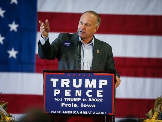 Congressman Steve King speaks during a rally for Republican
