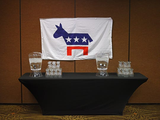 A Democratic Party flag during the South Dakota Democratic Party's Election Night event Tuesday, Nov. 8, 2016, at the Holiday Inn Sioux Falls City Centre in downtown Sioux Falls.