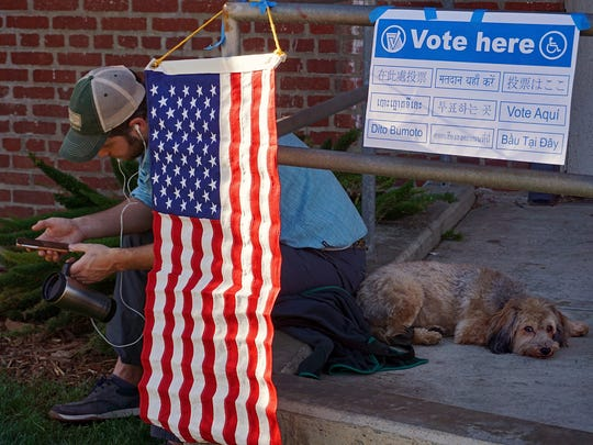 Outside a polling station in Los Angeles, California.