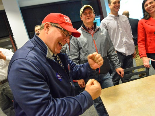 Kevin Baer of Springettsbury Township, reacts as Trump is announced winner of Florida during the Republican Committee election watch, Tuesday, November 7, 2016. John A. Pavoncello photo
