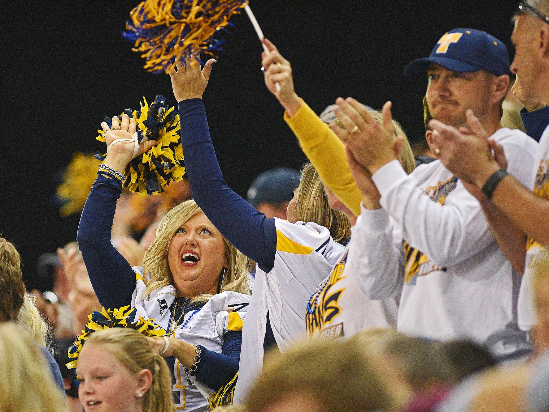 Tea Area fans cheer on their team during the 2016 South Dakota State Class 11A Football Championship game against Madison Saturday, Nov. 12, 2016, at the DakotaDome on the University of South Dakota campus in Vermillion, S.D.