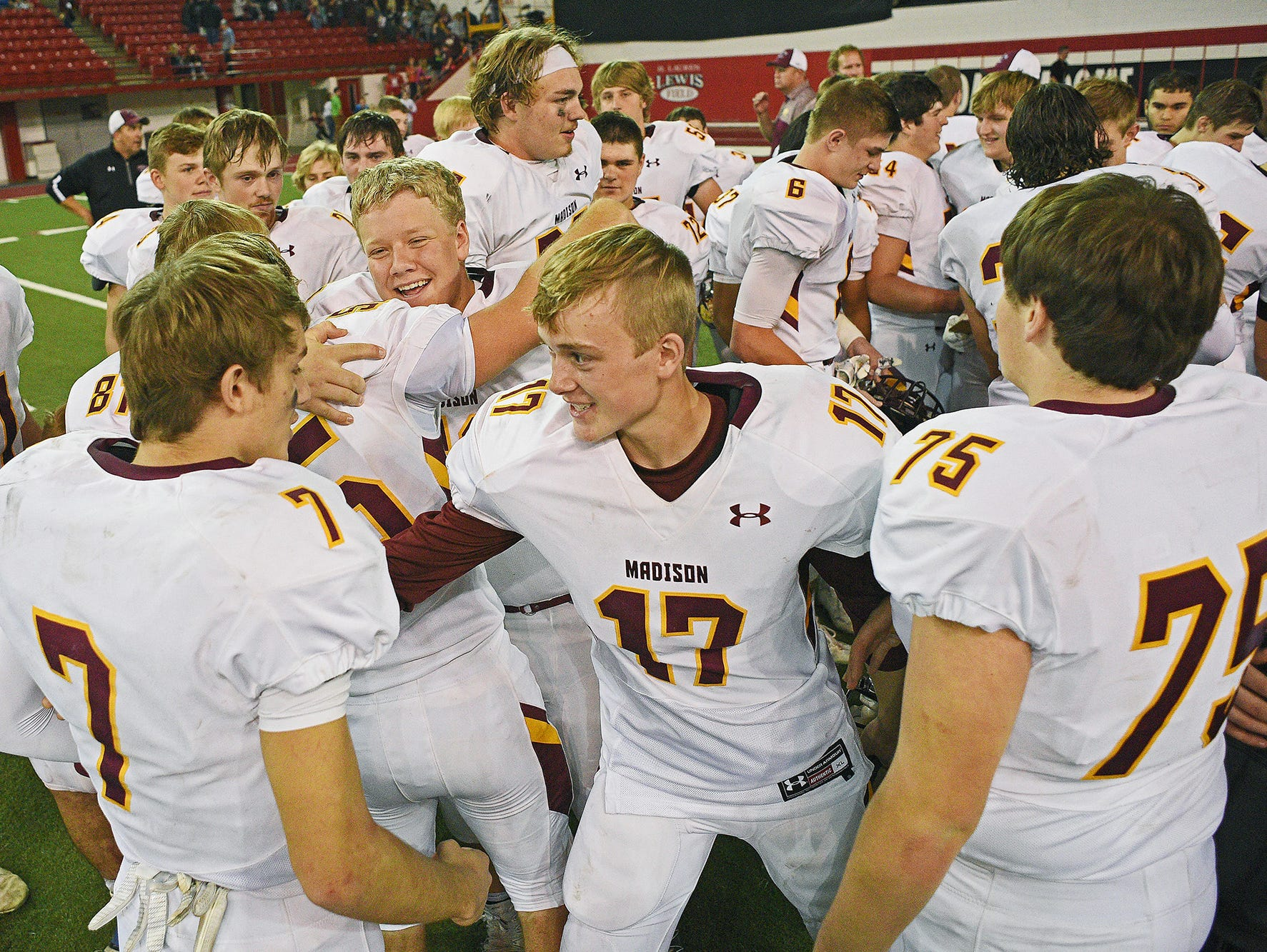 Madison players, their fans and their families celebrate their 39-0 win over Tea Area in the 2016 South Dakota State Class 11A Football Championship game Saturday, Nov. 12, 2016, at the DakotaDome on the University of South Dakota campus in Vermillion, S.D.