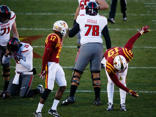 JaQuan Bailey lets his emotion show by taking a bow after sacking Texas Tech's Patrick Mahomes during the Cyclones' game against the Red Raiders in 2016.