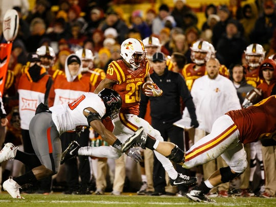 Iowa State's Kene Nwangwu runs during their football game against Texas Tech on Saturday, Nov. 19, 2016, in Ames. Iowa State would go on to win 66-10.