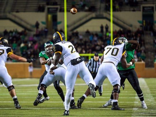 Southern Miss Golden Eagles quarterback Keon Howard threw three interceptions Saturday against North Texas.