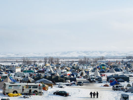 The Oceti Sakowin Camp near the Standing Rock Reservation