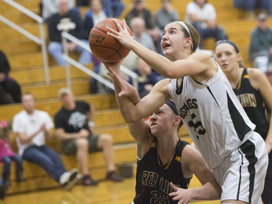 South Western's Taylor Geiman is fouled during a game