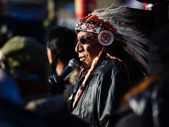 Chief Arvol Looking Horse addresses the crowd in the Oceti Sakowin Camp near the Standing Rock Reservation on Sunday.