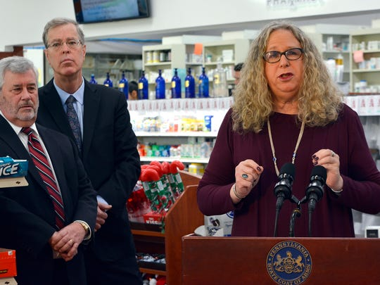Physician General Dr Rachel Levine and Secretary of Drug and Alcohol Programs Gary Tennis fill prescriptions for naloxone at Minnich's Pharmacy, 976 S George St., Monday, Dec. 5, 2016. The life-saving drug is now available to all PA residents. John A. Pavoncello photo