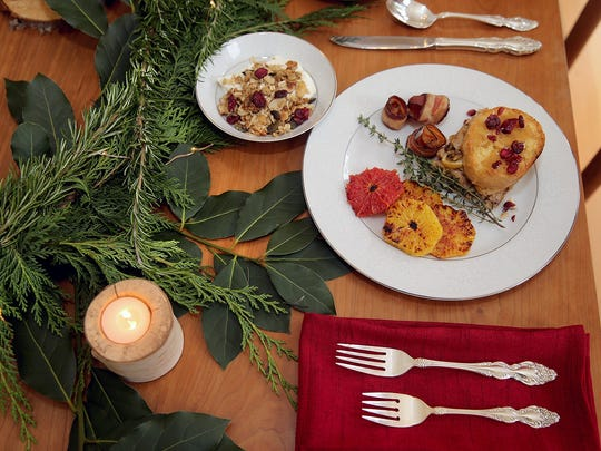 A special holiday brunch with make-ahead items includes one with Caramel Apple French toast, broiled citrus, granola-covered yogurt and locally grown bacon.