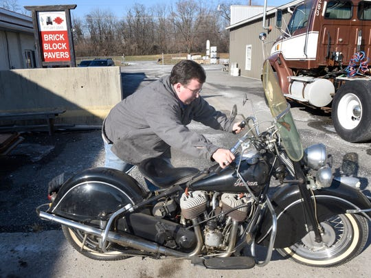 Auctioneer Clayton Armstrong, 610 Fifth Avenue, Chambersburg, is preparing to auction items, including a 1948 Indian Chief motorcycle, pictured,  from the estate of Richard (Dick) Bowman.
