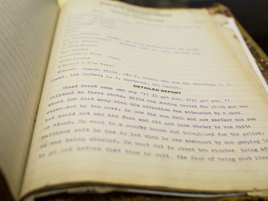 The homicide analysis sheet from Memphis' oldest unsolved murder is nearly 100 years old.