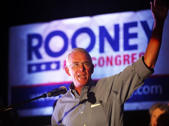 Francis Rooney addresses the crowd at his victory party after the primary election at the Hyatt Regency Coconut Point on Tuesday, Aug. 30, 2016.