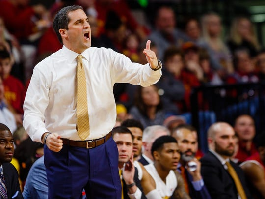 Iowa State's Steve Prohm shouts a play as Iowa State takes on Texas Tech during their game on Friday, Dec. 30, 2016, in Ames.
