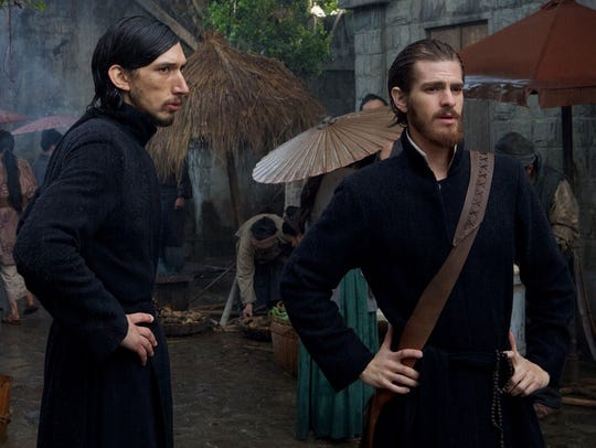 """Adam Driver (left) and Andrew Garfield star in """"Silence."""""""