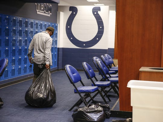 Indianapolis Colts wide receiver Chester Rogers (80) leaves the locker room inside the Colts Complex on Monday, Jan. 2, 2017.