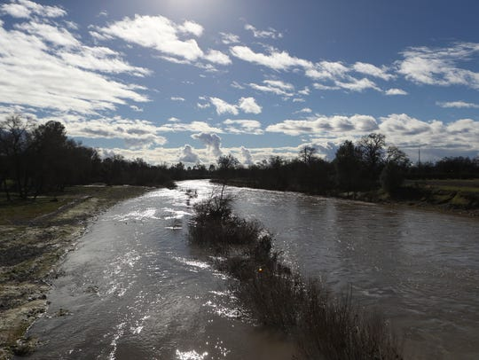 Water flows through Cow Creek in January 2017.