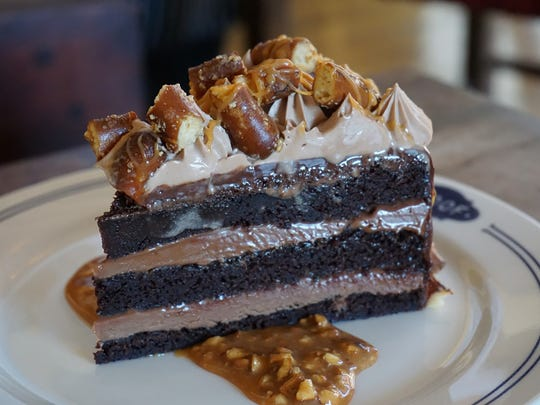 The salted caramel pretzel chocolate cake at Proof