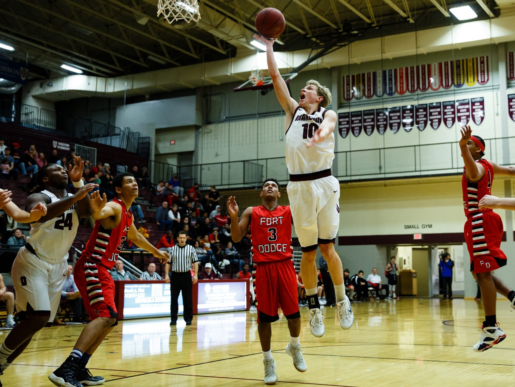 Dowling Catholic's Sam Olson goes up for a layup during their game against Fort Dodge at Dowling Catholic on Saturday, Jan. 14, 2017, in West Des Moines. Dowling Catholic would go on to win 70-35.
