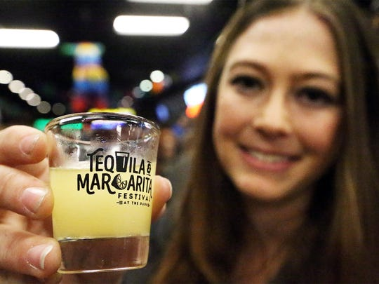 Lindsey Gimler of Hatch, N.M. tried a margarita sample at the 2017 Tequila and Margarita Festival  at Sunland Park Racetrack & Casino.
