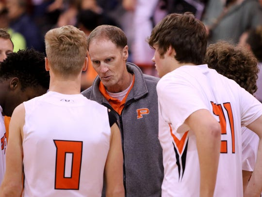 Petrolia basketball coach Gordon Williams said the highlight of his career is coaching his three children, the last of which is Dane (0).