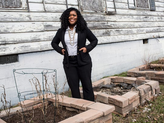 """January 26, 2017 - Jennifer Shorter stands in a section of the  Healing Cathedral Christian Church community garden on the church grounds along Elvis Presley Boulevard. """"Service projects are something I've always done,"""" Shorter said, who has worked with many community partners to make the garden a reality."""