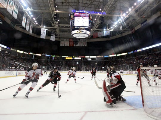 The Albany Devils play the Binghamton Senators at the Times Union Center in Albany in 2013.
