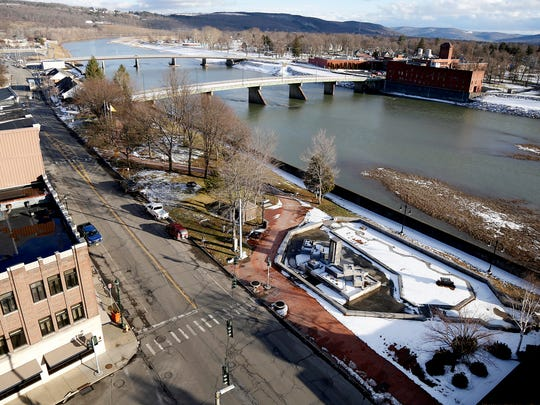 Elmira city officials are seeking to create better access and appreciation of the Chemung River, which are cut short by a closed Lake Street bridge and flood wall in Riverfront Park along Water Street that blocks views and access.