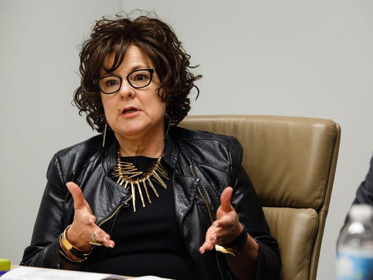Debi Durham, director of the Iowa Economic Development Authority, talks with The Des Moines Register editorial board in February 2017.