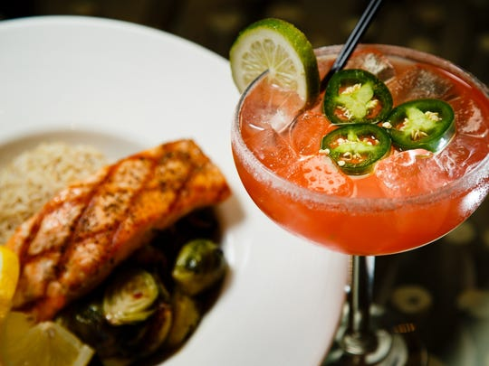 The Salmon with Brussels and Rice paired with the Spicy Watermelon Margarita at Fletcher Kitchen and Bar for Datebook Diner on Tuesday, Feb. 21, 2017 in Ankeny.