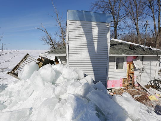 Ice shoves off Lake Winnebago damaged a cottage located