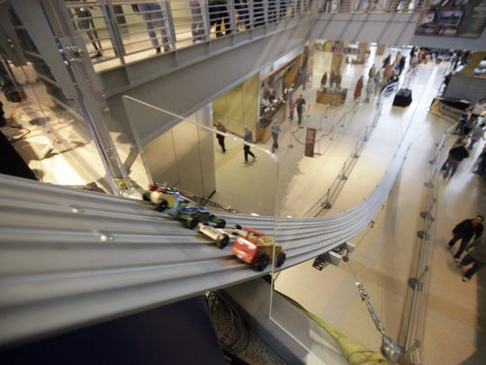 Cheer on Pinewood Derby racers April 1 on the two-story, 125-foot race track at the Indiana State Museum, 650 W Washington St.