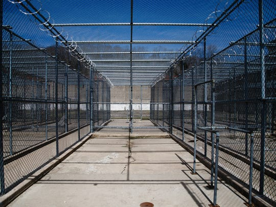 The exercise cages at the closed Iowa State Penitentiary at Fort Madison.