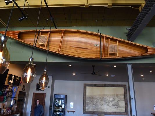 MTO river's edge - canoe near ceiling