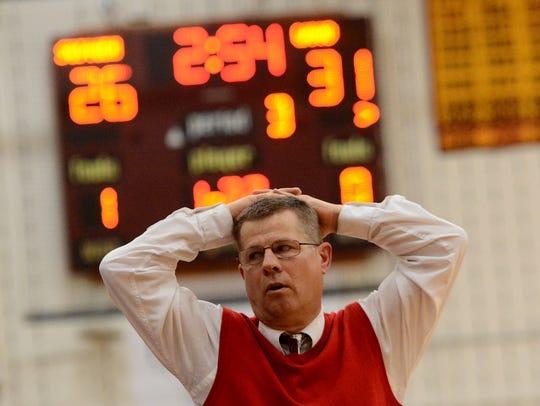 Susquehannock head coach Dave Schreiner reacts as another