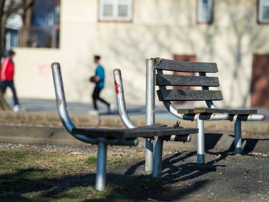 Damaged benches in Beautex Playground. Making A Difference of Lebanon PA held a community meeting to unveil their Beautex Playground revitalization project on Wednesday, March 22, 2017.
