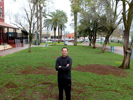 Developer Todd Franklin stands in Carnegie' Park, the future home of a food truck court in downtown Redding he plans to open.