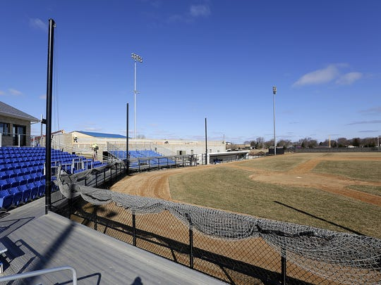 Construction crews work on an addition at Herr-Baker Field on the Marian University Campus. The addition is for the new Northwoods League baseball team, The Dock Spiders, which will begin playing on the field this spring. Doug Raflik/USA TODAY NETWORK-Wisconsin