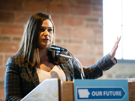 First District congressional candidate Abby Finkenauer speaks during a democratic forum for upcoming election candidates at Noce Jazz club on Thursday, March 23, 2017, in Des Moines.