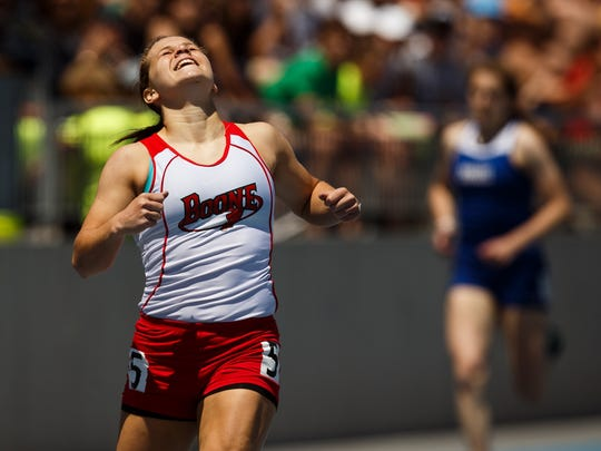Boone's Dianna Slight wins the girls' 400 meter dash during last year's Class 3A state track meet.