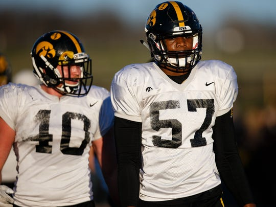 Iowa redshirt freshman defensive end Chauncey Golston
