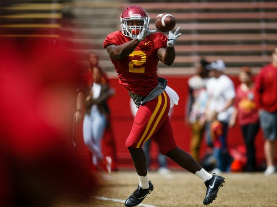 Iowa State redshirt junior running back Mike Warren (2) catches a pass during their spring game on Saturday, April 8, 2017, in Ames.