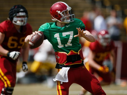 Iowa State redshirt senior quarterback Kyle Kempt (17) throws a pass during their spring game on Saturday, April 8, 2017, in Ames.